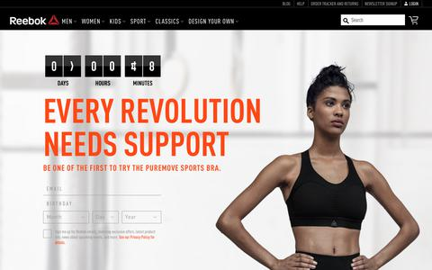 Screenshot of Signup Page reebok.com - The Reebok PureMove Sports Bra - Coming 8/17 | Reebok US - captured Aug. 10, 2018