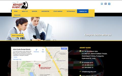Screenshot of Contact Page adroitguide.com - Contact Us | Adroit Guide | ADROIT GUIDE group is an International Student Recruitment Organization that assists students in pursuing overseas education in universities in SWEDEN, FRANCE, FINLAND, NORWAY, DENMARK, IRELAND, GERMANY and the rest of Eur - captured July 23, 2016