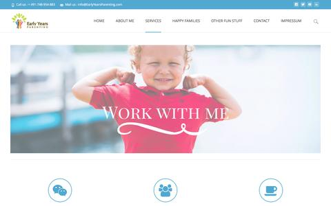 Screenshot of Services Page earlyyearsparenting.com - WORK WITH ME - captured May 14, 2017