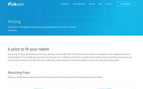 Screenshot of Pricing Page silkstart.com - Association Management Software Pricing | SilkStart - captured Aug. 18, 2017
