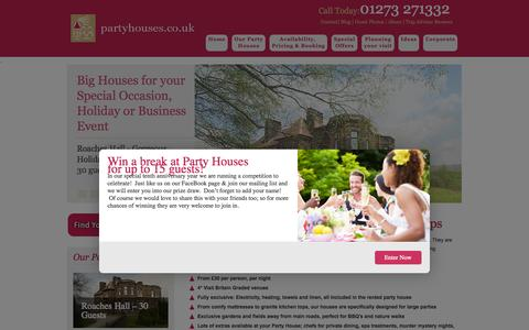 Screenshot of Home Page partyhouses.co.uk - Large Group Party Houses to Rent UK   Party Houses - captured Oct. 1, 2014