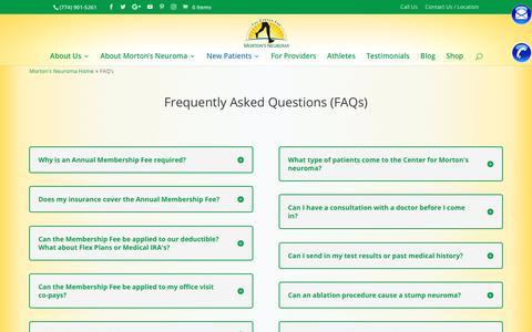 Screenshot of FAQ Page mortonsneuroma.com - FAQ's |The Center for Morton's Neuroma Treatment - captured Sept. 27, 2018