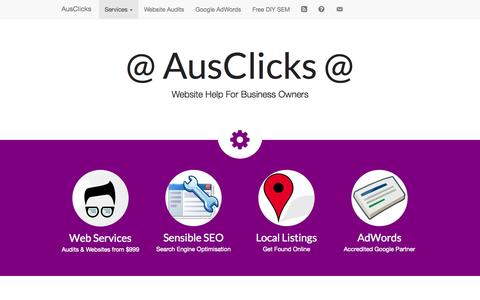 Screenshot of Home Page ausclicks.com.au - AusClicks • Google AdWords, SEO & WordPress Services - captured Aug. 2, 2015