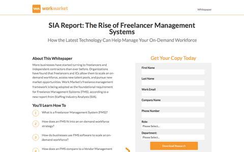 Screenshot of Landing Page workmarket.com - The Rise of Freelance Management System - WorkMarket - captured March 23, 2017