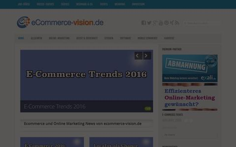 Screenshot of Home Page ecommerce-vision.de - Ecommerce-Vision - Das eCommerce Magazin - captured Jan. 18, 2016