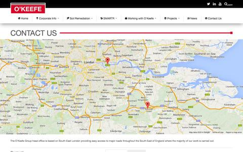 Screenshot of Contact Page okeefe.co.uk - Contact Us • O'Keefe - captured Oct. 7, 2014