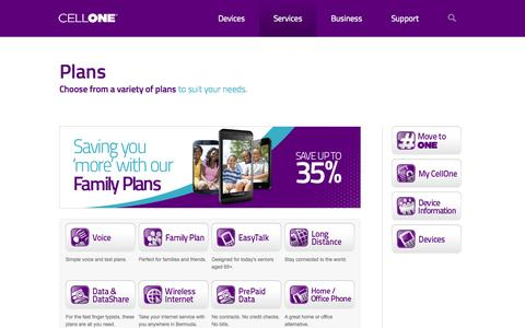 Screenshot of Services Page cellone.bm - Plans | CellOne - captured Oct. 2, 2014