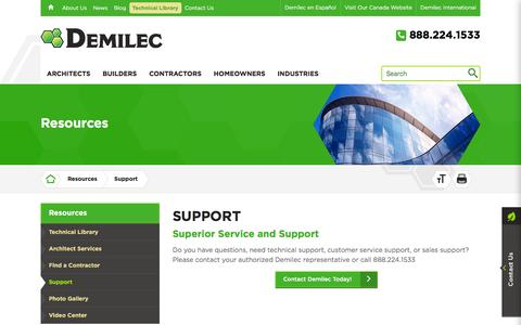 Screenshot of Support Page demilec.com - Demilec Inc. | Get Support from Our Team - captured Jan. 7, 2016