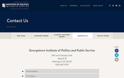 Screenshot of Contact Page georgetown.edu - Contact Us - GU Politics - captured June 5, 2017