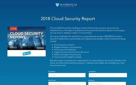 Screenshot of Landing Page evident.io - Cloud Security 2018 Report - captured May 26, 2018