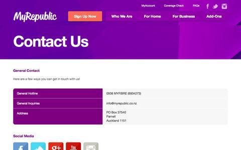 Screenshot of Contact Page myrepublic.co.nz - MyRepublic | Fibre Broadband Specialists - captured Nov. 4, 2014