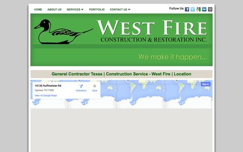 Screenshot of Locations Page westfireinc.com - General Contractor Texas | Construction Service - West Fire | Location - captured Oct. 1, 2014