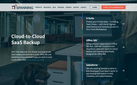 Screenshot of Home Page spanning.com - Cloud-to-Cloud Backup: Google Apps, Salesforce and Office 365 - captured Nov. 16, 2018