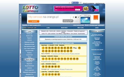 Screenshot of Home Page lotto-centrum.com - Lotto Centrum: Wyniki Lotto, wygrane, statystyki, typowania, systemy. - captured Sept. 23, 2014