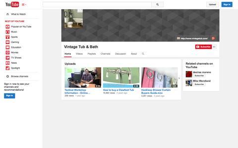 Screenshot of YouTube Page youtube.com - Vintage Tub & Bath  - YouTube - captured Oct. 25, 2014