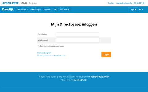 Screenshot of Login Page directlease.be - Lease direct uw wagen of firmawagen | Directlease autolease - captured Oct. 2, 2018
