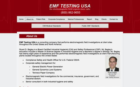 Screenshot of About Page emftesting.net - About Us | EMF Testing USA - captured Oct. 3, 2014