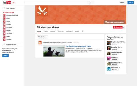 Screenshot of YouTube Page youtube.com - PSHelper.com Videos  - YouTube - captured Oct. 25, 2014