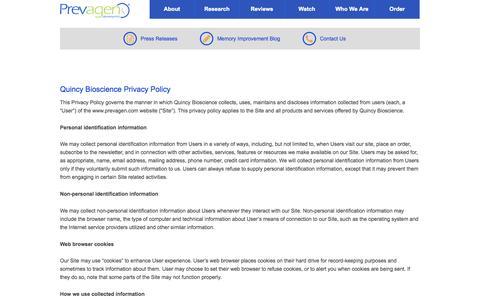 Screenshot of prevagen.com - Privacy Policy - Prevagen - captured June 20, 2015