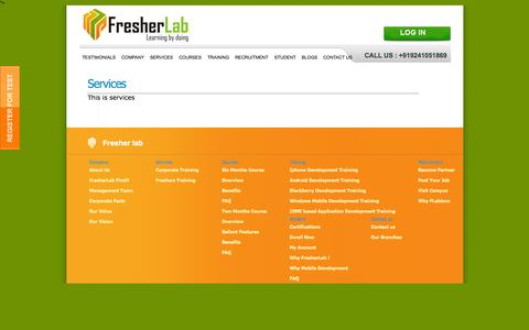 Screenshot of Services Page fresherlab.com - Services | Corporate Training, Java training, I Phone, Mobile Application, Mobile Application Development,  from Fresherlab - captured Sept. 30, 2014