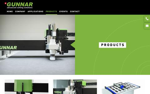 Screenshot of Products Page gunnar-int.com - Gunnar AG | advanced cutting solutions | products - captured Sept. 30, 2018