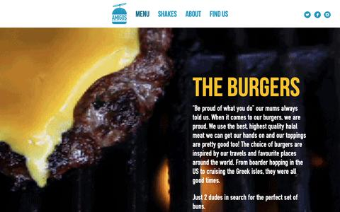 Screenshot of Menu Page amigosburgersandshakes.com - Our burgers menu includes: delicious burgers, peri peri chicken wraps, hot dogs, desserts, kids's meals and a wide range of sides - captured Nov. 12, 2018