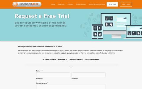 Screenshot of Trial Page essentialskillz.com - Try EssentialSkillz eLearning for free — EssentialSkillz - captured Oct. 28, 2014