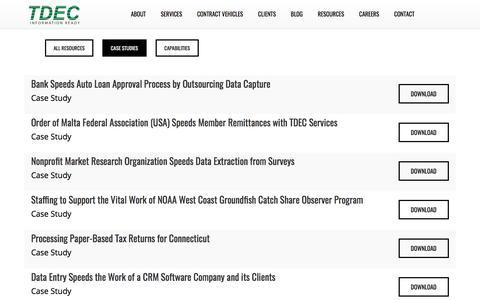 Screenshot of Case Studies Page tdec.com - TDEC - captured June 18, 2017