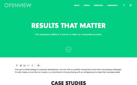 Screenshot of Case Studies Page openviewpartners.com - Case Studies - Our Results | OpenView - captured June 21, 2017