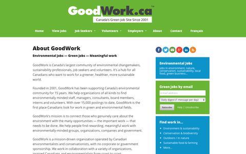 Screenshot of About Page goodwork.ca - GoodWork.ca: environmental jobs, conservation jobs, nature jobs - captured Aug. 29, 2017