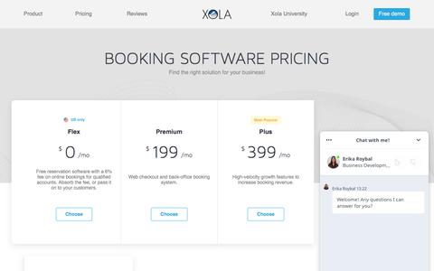 Screenshot of Pricing Page xola.com - Online Booking Software Pricing | Xola - captured June 29, 2018