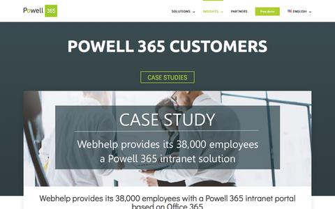 Screenshot of Case Studies Page powell-365.com - Learn more about Powell 365 customer experience | Case Studies - captured July 8, 2018