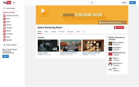 Screenshot of YouTube Page youtube.com - Issimo Screening Room  - YouTube - captured Oct. 23, 2014