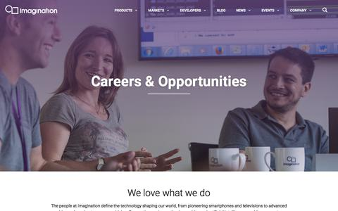 Screenshot of Jobs Page imgtec.com - Careers & Opportunities - Invent the future at Imagination Technologies - captured June 28, 2019