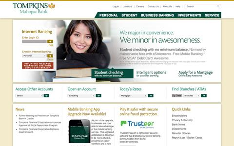 Screenshot of Home Page About Page Privacy Page Jobs Page Login Page Locations Page mahopacbank.com - Tompkins Mahopac Bank - Commercial & Business Banking Putnam NY | Home Equity Westchester NY - captured Oct. 6, 2014