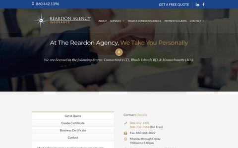 Screenshot of Contact Page reardonagency.com - Waterford - New London CT Insurance Agency | Contact The Reardon Agency - captured Oct. 18, 2018