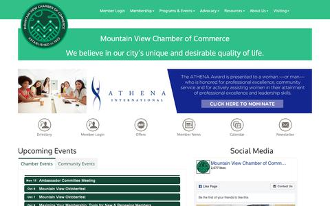 Screenshot of Home Page chambermv.org - MVCoC - Mountain View Chamber of Commerce, CA - captured Sept. 27, 2018