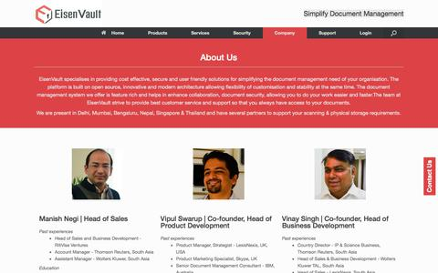 Screenshot of Contact Page eisenvault.com - EisenVault Document Management India - Find out more about us - captured Nov. 24, 2017