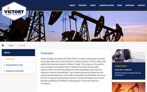 Screenshot of About Page vyey.com - Overview :: Victory Energy Corporation (VYEY) - captured Oct. 7, 2014