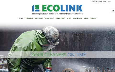 Screenshot of Home Page ecolink.com - Industrial Degreasers, Organic Solvents & Parts Washers - captured July 16, 2018