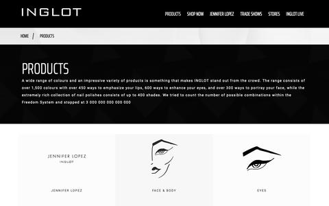 Screenshot of Products Page inglotcosmetics.com - PRODUCTS - One of the world's leading manufacturer in colour cosmetics - Inglot Cosmetics - captured Sept. 29, 2018