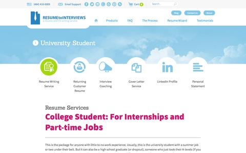 Screenshot of Products Page resumetointerviews.com - University Student - Resume to Interviews - captured Sept. 22, 2014
