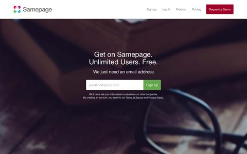 Screenshot of Signup Page samepage.io - Sign up for Free | Samepage - captured Dec. 21, 2015