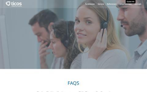 Screenshot of FAQ Page ticos.at - FAQs - Projektmanagement-Software Ticos - captured June 11, 2016