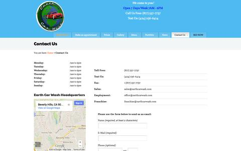 Screenshot of Contact Page earthcarwash.com - Contact Earth Car Wash, Franchise Mobile Waterless Car Wash - captured Sept. 27, 2014