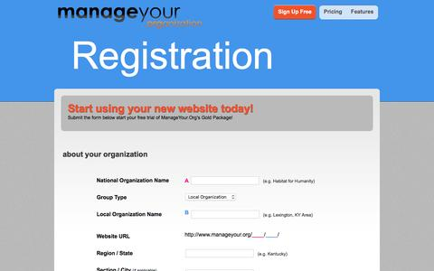 Screenshot of Signup Page manageyour.org - ManageYour.Org - Organization Management Service - captured March 4, 2016