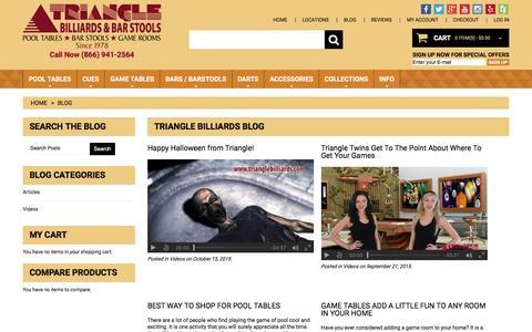 Screenshot of Blog tribilliards.com - Triangle Billiards Blog - captured Feb. 25, 2016