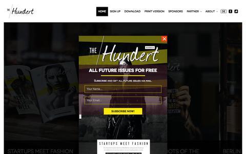 Screenshot of Home Page the-hundert.com - the Hundert - leading magazine on Berlin's startup scene - captured Jan. 26, 2015