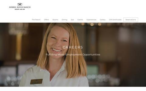 Screenshot of Jobs Page sorrelriver.com - Moab Hotel Jobs | Sorrel River Ranch Resort & Spa – Careers - captured Nov. 16, 2018