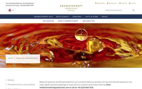 Screenshot of FAQ Page aromatherapyassociates.com - FAQs   Aromatherapy Associates - captured Feb. 7, 2019